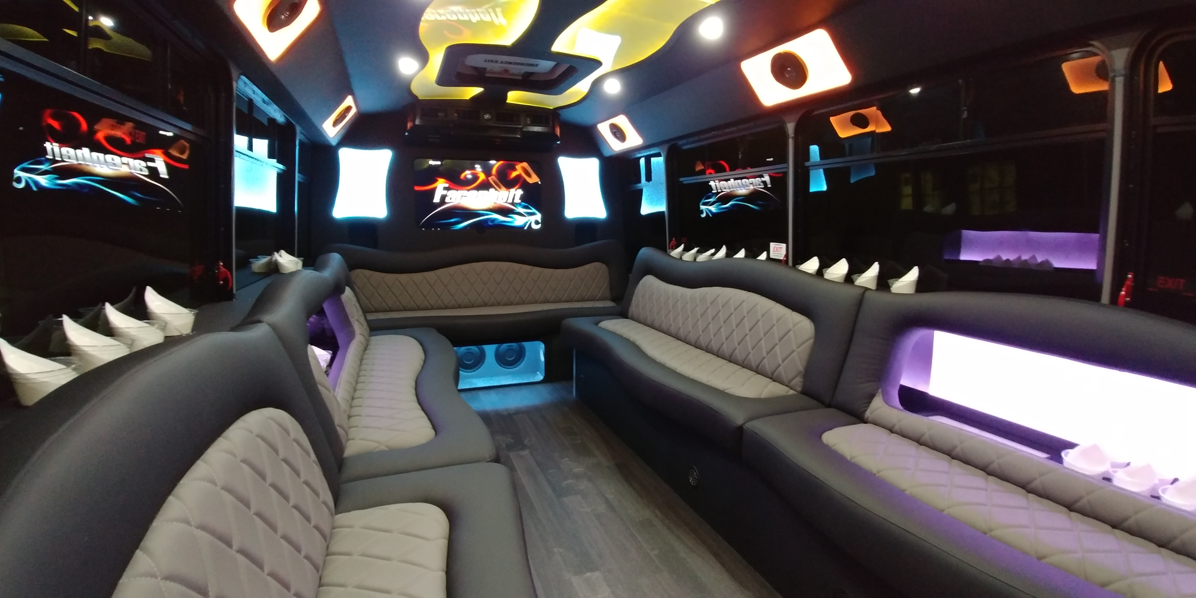 18 Passenger Luxury Limo Bus Nighttime Interior 1