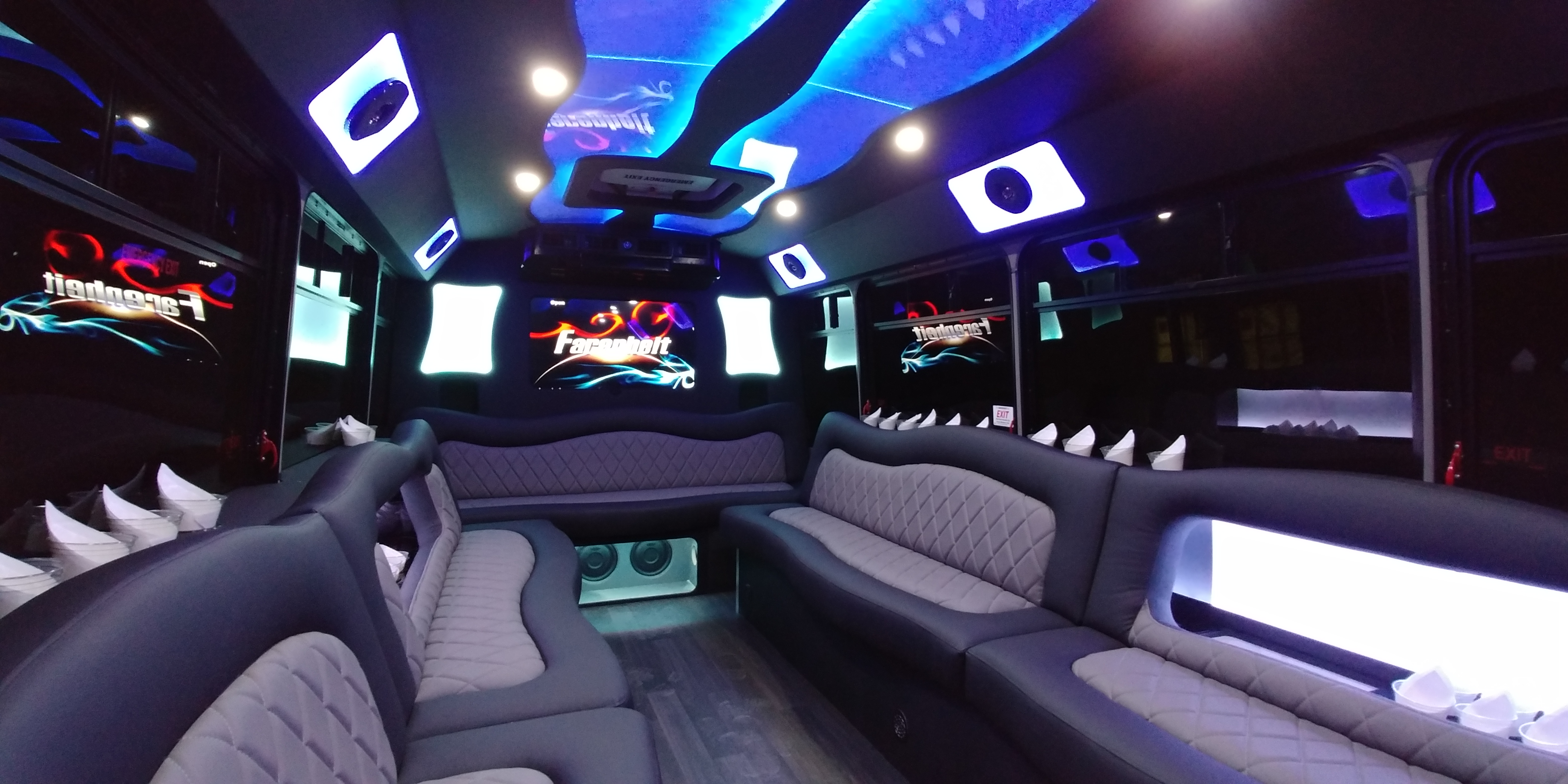 18 Passenger Luxury Limo Bus Nighttime Interior 2