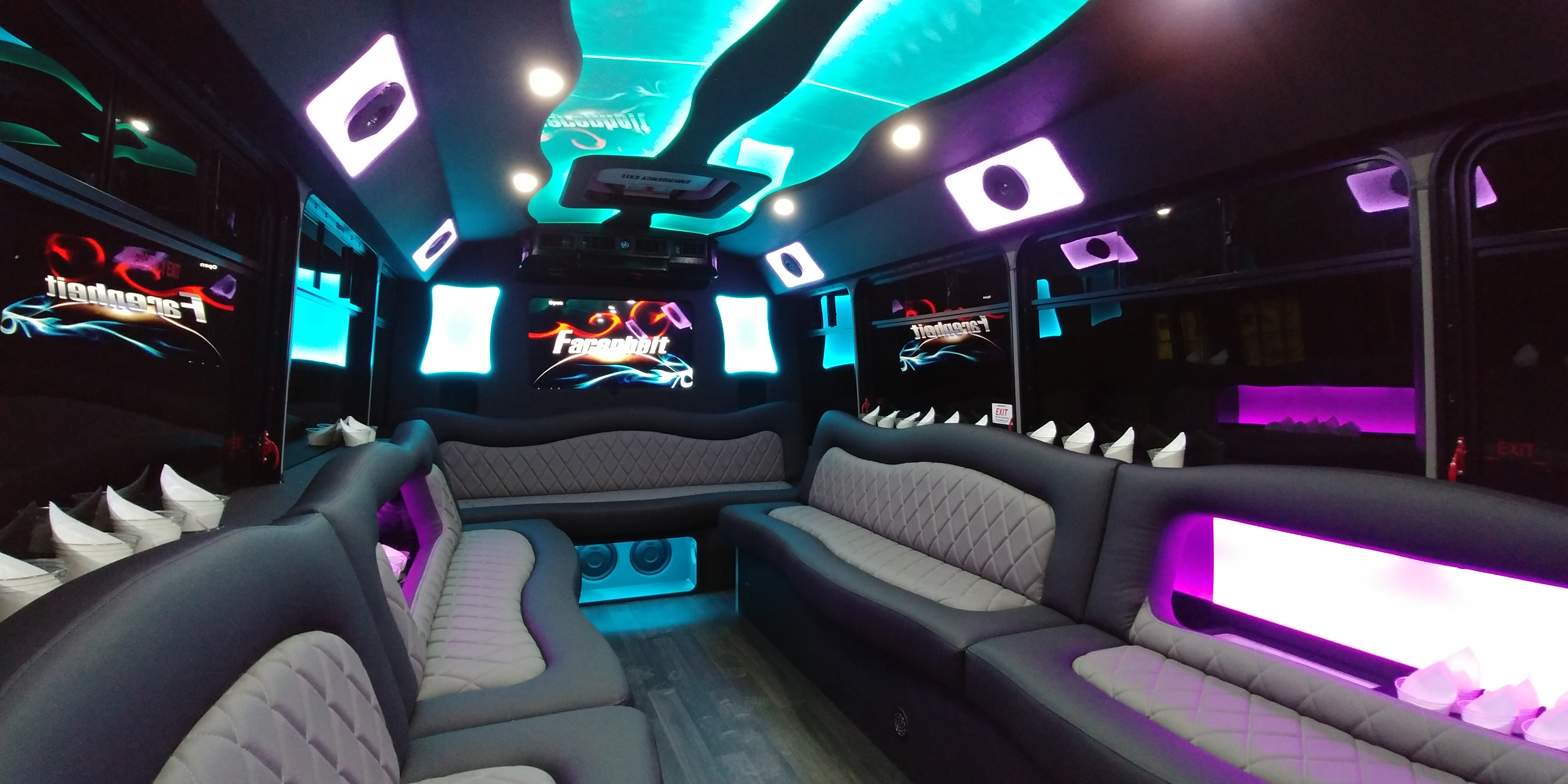 18 Passenger Luxury Limo Bus Nighttime Interior 3