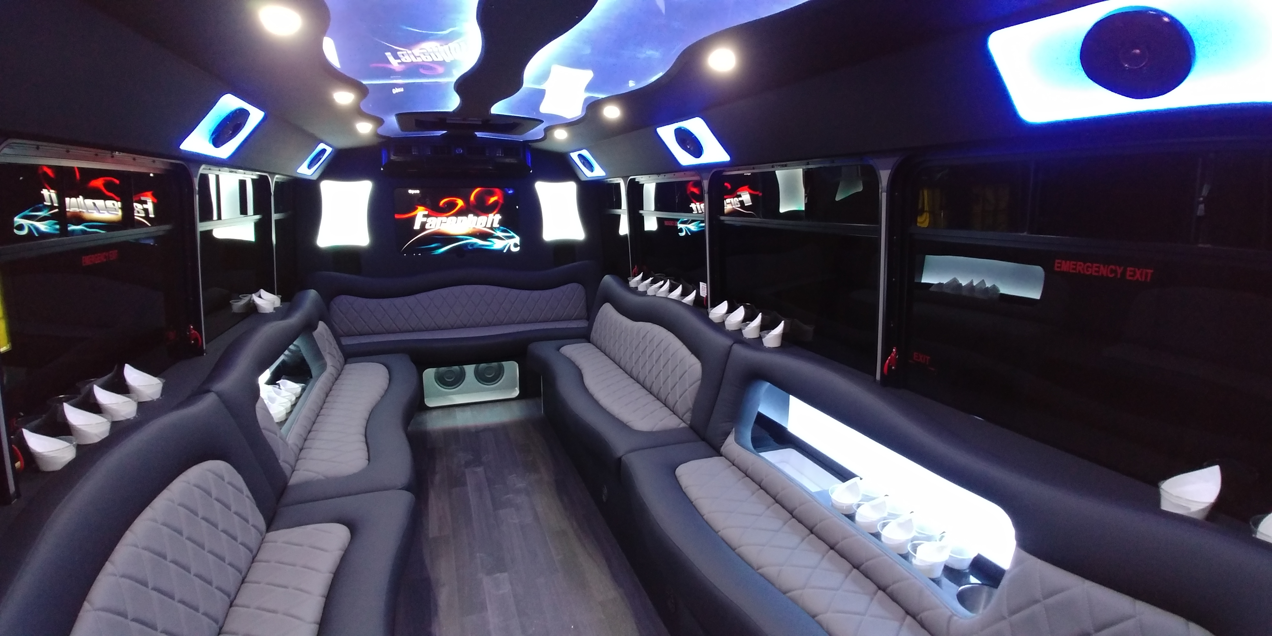 18 Passenger Luxury Limo Bus Nighttime Interior 4
