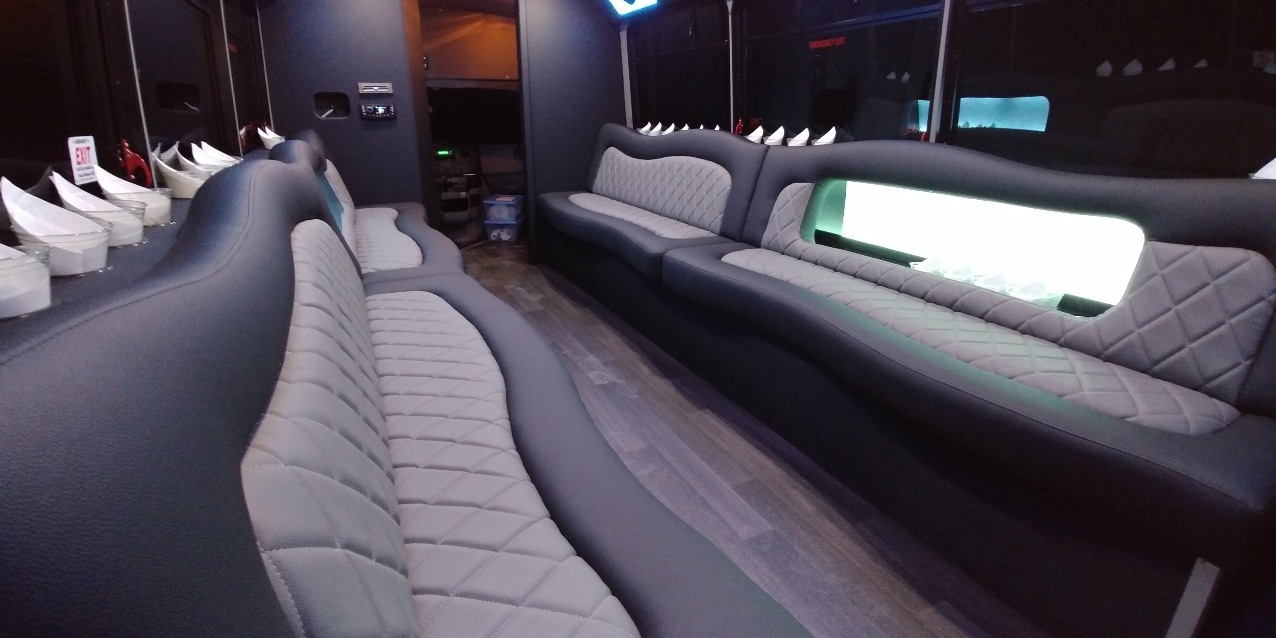18 Passenger Luxury Limo Bus Nighttime Interior 6
