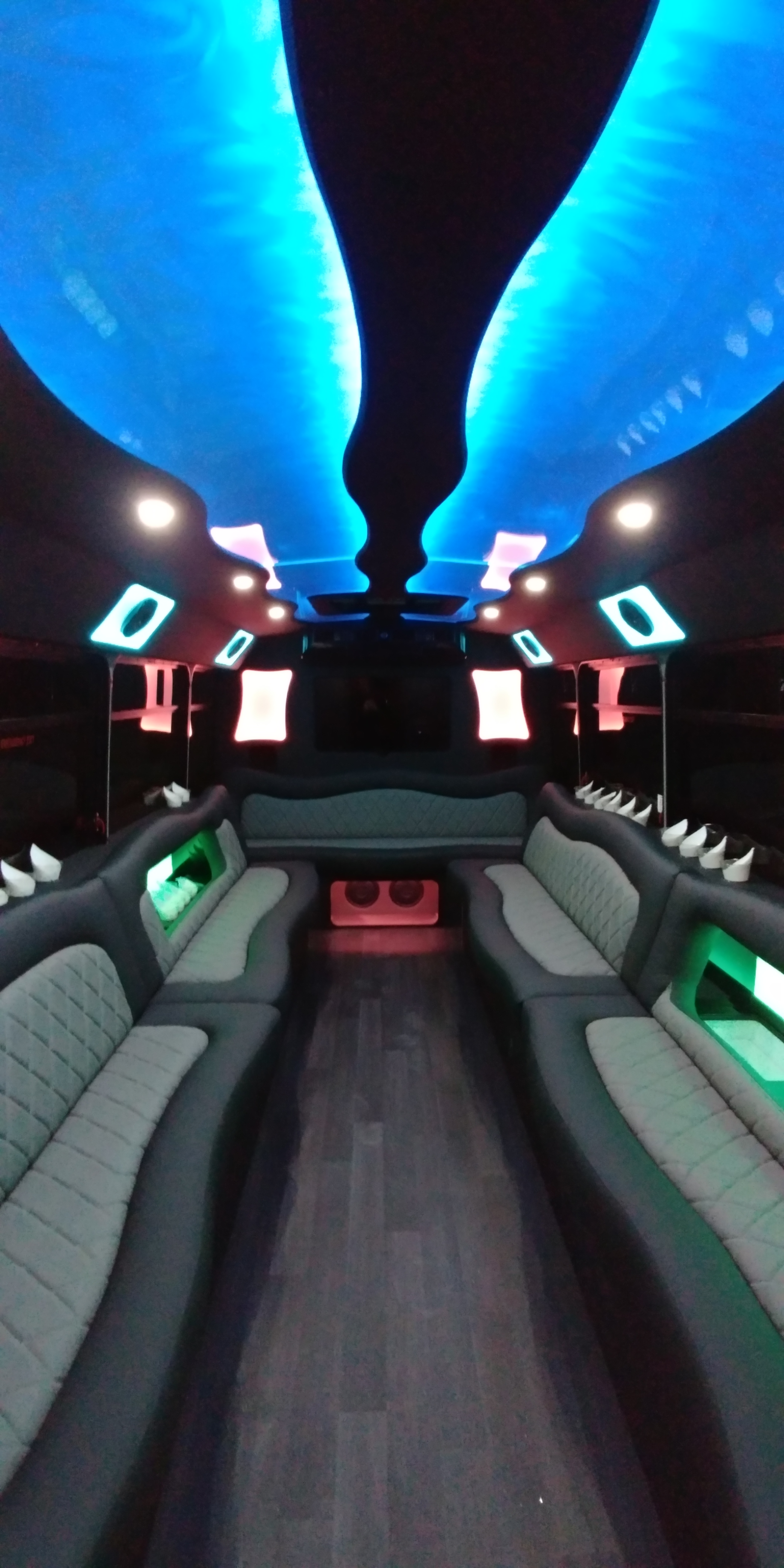 18 Passenger Luxury Limo Bus Nighttime Interior 7
