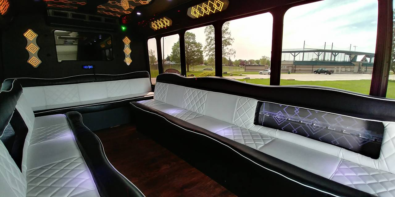 21 Passenger Luxury Limo Bus Interior