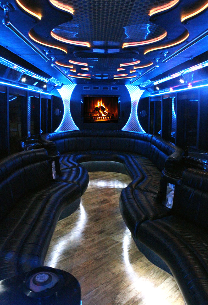 26-2 Passenger Luxury Limo Bus Fireplace DVD Interior